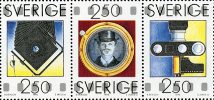 Poste Suède Planche trois timbres