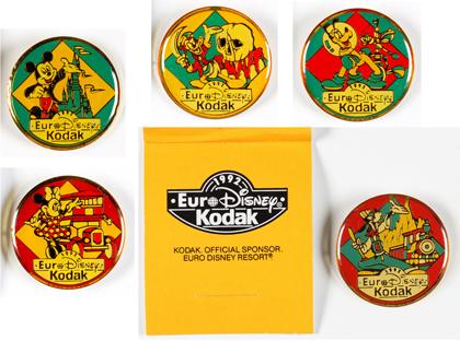 Kodak 5 Pin's Euro Disney 1992