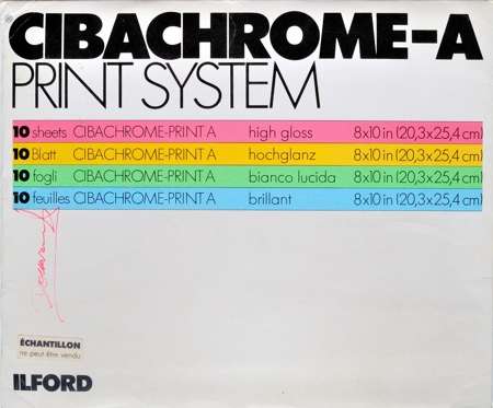 Ilford Cibachrome-A Print System, pochette de 10 feuilles