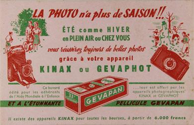 Kinax Buvard associant la marque Kinax et Gevaphot