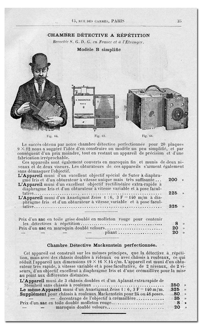 Mackenstein Chambre Détective à Répétition Mod. B Vintage Cameras .