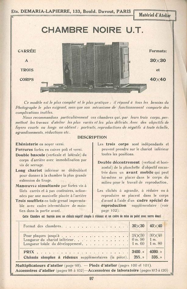 Demaria-Lapierre Chambre Noire U.T.