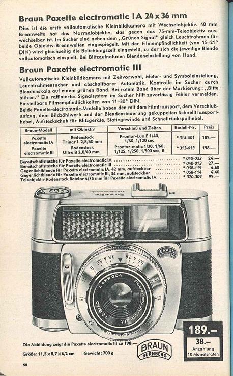 Braun Paxette Electromatic III